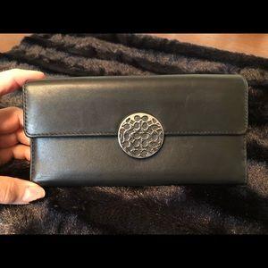 Coach black leather wallet EUC